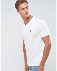 Abercrombie & Fitch - Slim Fit T-shirt V-neck Logo In White - Lyst