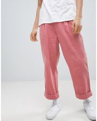 ASOS - Design Wide Balloon Trousers In Pink Cord With Pleats - Lyst