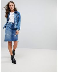 Pepe Jeans - Contrast Denim Chewed Skirt - Lyst