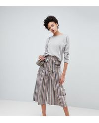 d987614025 ASOS - Wide Leg Soft Pants With Pleats In Stripe - Lyst