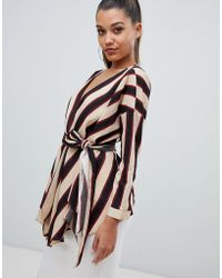 PrettyLittleThing - Tie Waist Blouse In Stripe - Lyst