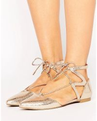 Call It Spring - Call It Spring Ikie Metallic Cutout Flat Shoes - Lyst