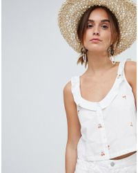 Mango - Cherry Print Crop Cami Button Through In White - Lyst