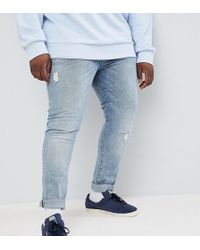 ASOS - Plus Super Skinny Jeans In Light Wash Blue With Abrasions - Lyst