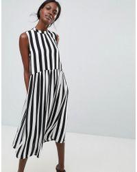 Y.A.S - High Neck Stripe Midi Dress - Lyst