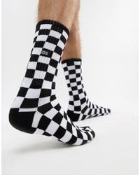 Vans - Checkerboard Ii Crew (black/white Check) Men's Crew Cut Socks Shoes - Lyst