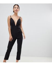ASOS - Asos Design Petite Jumpsuit With Plunge Neck And Peg Leg - Lyst
