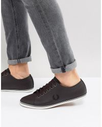 Fred Perry - Kingston Leather Plimsolls In Brown - Lyst