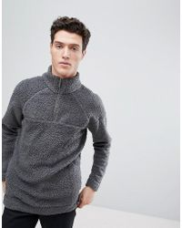Native Youth | Half Zip Borg Jumper | Lyst