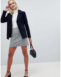 Pieces - Check Mini Skirt With Front Pockets - Lyst