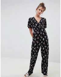 4252c3b3a83 Daisy Street - Jumpsuit With Kimono Sleeves In Dark Floral Print - Lyst