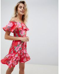 379bc2005be29 ASOS - Off Shoulder Sundress With Tiered Skirt In Floral Print - Lyst