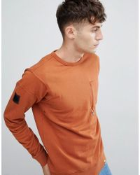 Pretty Green - Crew Neck Sweat In Orange - Lyst