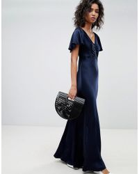 Ghost - Fluted Capped Sleeve Satin Maxi Dress With Ruched Detail - Lyst