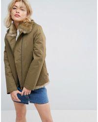 Parka London - Aya Faux Fur Lined Lightweight Jacket - Lyst
