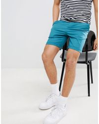 ASOS - Slim Chino Shorts In Teal - Lyst