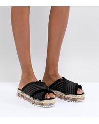 Sixtyseven - Adiva Black Satin Flatform Sandals - Lyst