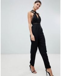 Love Triangle - Multi Strap Jumpsuit With Contrast Lace Cross Front In Black - Lyst