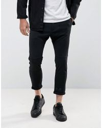 Casual Friday - Cropped Drop Crotch Trousers In Black - Lyst