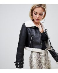 Boohoo - Cropped Aviator Jacket With Borg Trim In Black - Lyst