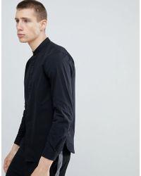 Stradivarius - Regular Fit Shirt With Grandad Collar In Black - Lyst