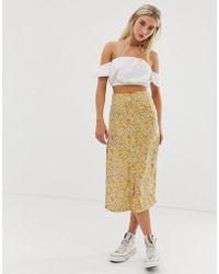 Daisy Street - Button Through Midi Skirt In Sunflower Print - Lyst