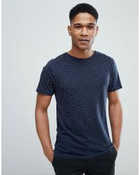 Bellfield - T-shirt In Triangle Print With Raw Edges - Lyst