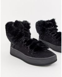 Bershka - Faux Fur Lined Boot - Lyst