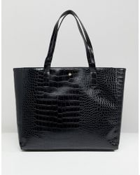 Lipsy - Faux Croc Tote Bag - Lyst