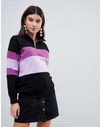 PrettyLittleThing - Sweat-shirt effet color block fermeture clair sur l'avant - Lyst