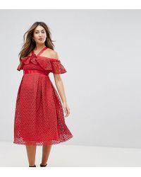 ASOS | Lace Cold Shoulder Midi Dress | Lyst