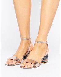 Dune - Marble Metallic Gem Block Heeled Sandals - Lyst