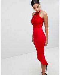 AX Paris - Lace Racer Neck Pephem Dress In Scuba - Lyst