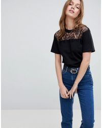 ASOS - T-shirt With Lace Yoke Panel And Elasticated Hem - Lyst