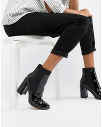 5d253c025f ASOS East Town Peep Toe Shoe Boots in Black - Lyst
