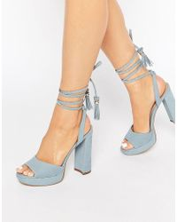 ALDO - Chareri Blue Platform Sandal With Braided Ankle - Lyst