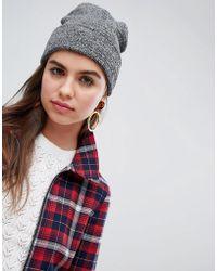 Monki - Grey Fleck Beanie Hat - Lyst