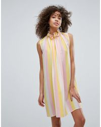 Traffic People - High Neck Striped Shift Dress - Lyst