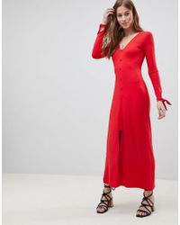 ASOS - Maxi Tea Dress With Self Covered Buttons - Lyst