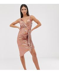 TFNC London - Wrap Front Mini Sequin Dress In Rose Gold - Lyst