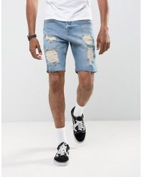 ASOS - Asos Denim Shorts In Slim Mid Wash Vintage Blue With Heavy Rips - Lyst