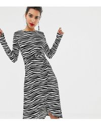 Warehouse - O Ring Slinky Dress In Zebra - Lyst