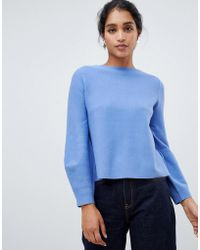 Oasis - Bell Sleeve Compact Knitted Sweater In Light Blue - Lyst