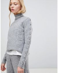 Shae - Buttoned Sleeves High Neck Alpaca And Merino Wool Blend Sweater - Lyst