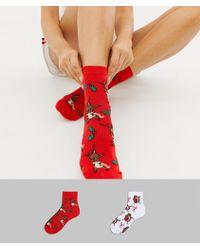 ASOS - Christmas Dabbing Animal 2 Pack Socks - Lyst