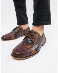 ASOS DESIGN - Lace Up Shoes In Brown Leather With Color Woven Detail - Lyst