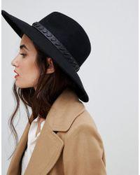 French Connection - Whipstitch Wide Brim Wool Fedora Hat - Lyst