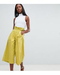 Missguided - Exclusive Tall Paper Waist Culottes - Lyst