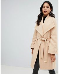 Lipsy - Wrap Coat In Camel - Lyst