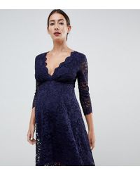 Flounce London - Lace Prom Dress With 3/4 Sleeve In Navy - Lyst